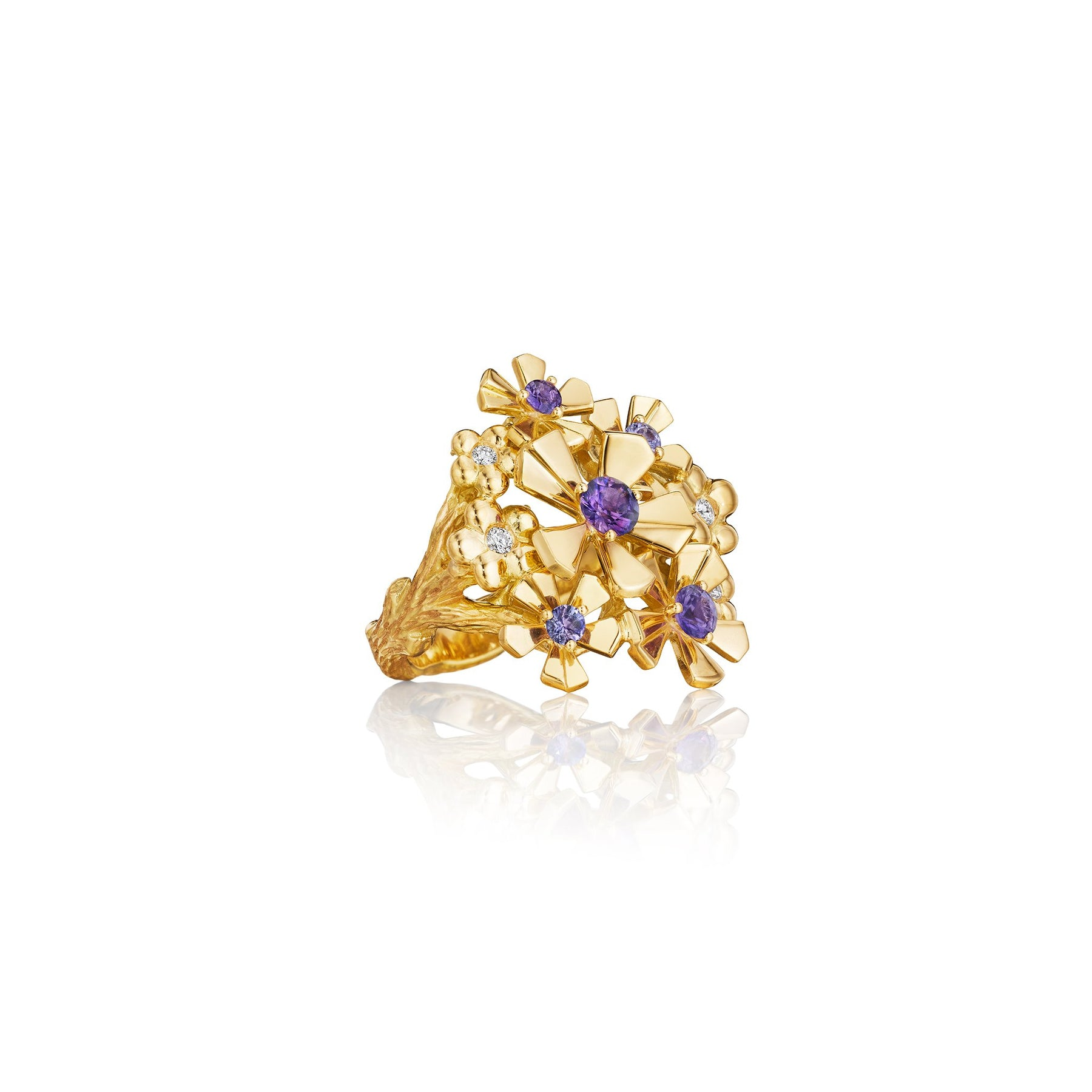 Wonderland Orchid Cluster Purple Sapphire Ring_18k Yellow Gold