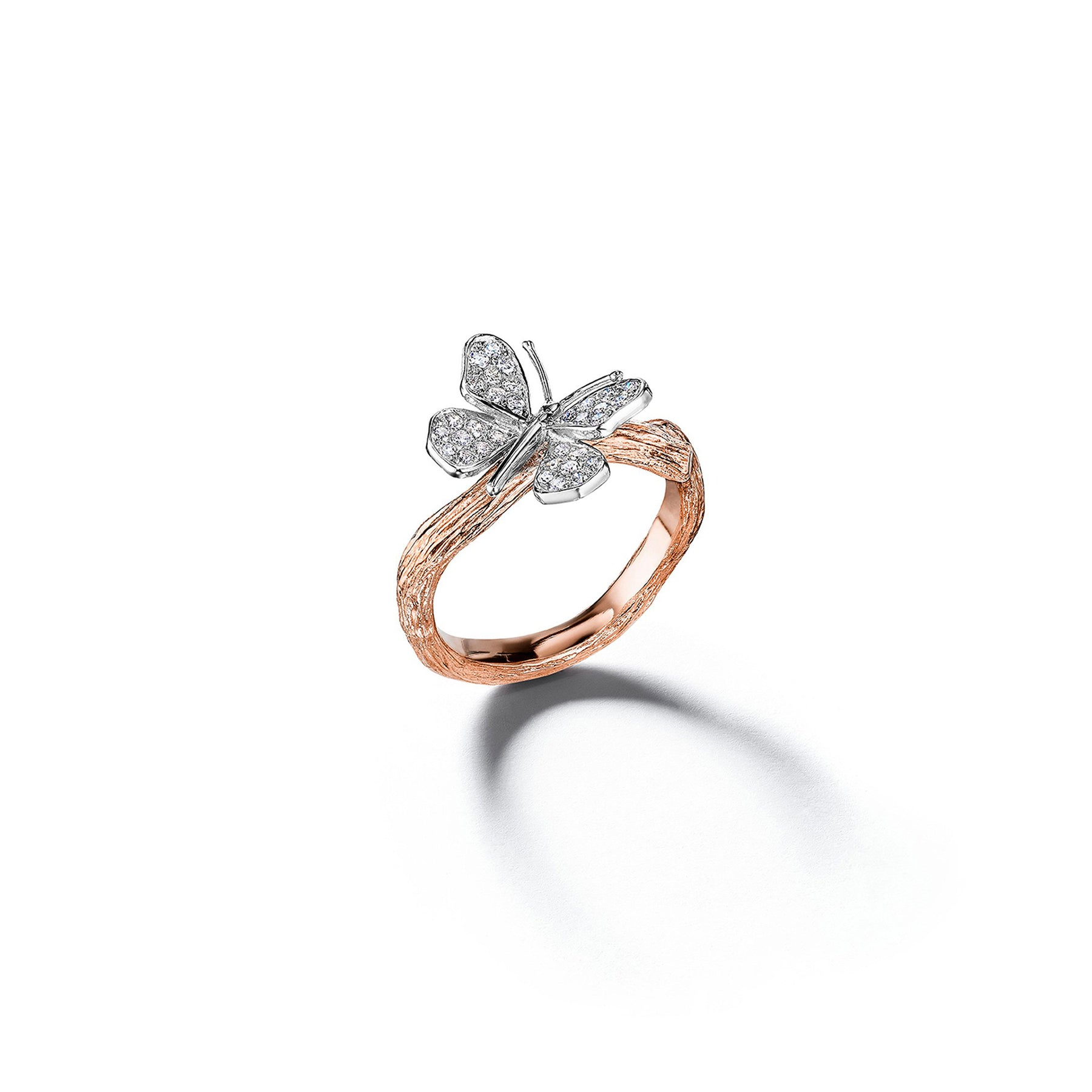 Mimi So Wonderland Butterfly Twig Ring_18k White/Rose Gold