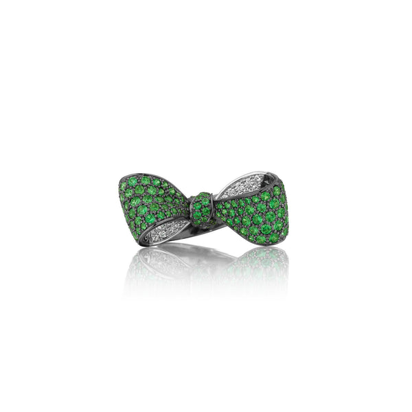 Bow Green Tsavorite & Diamond Ring_18k White/Black Gold