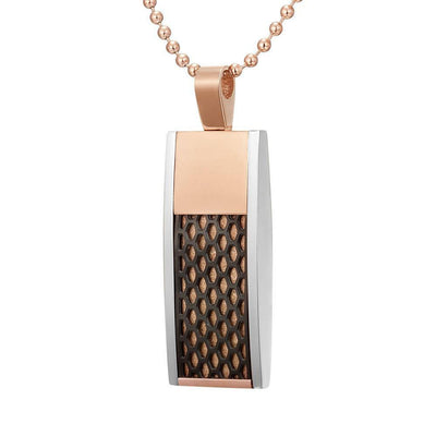 Willis Judd Mens Black Stainless Steel Tri-Color Honey Comb Pendant with Necklace and Gift Pouch