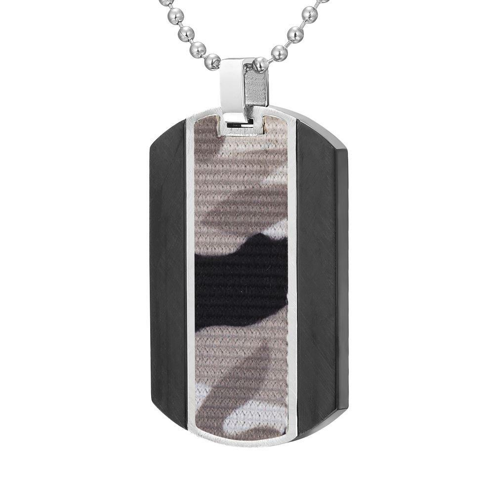 "Willis Judd Mens Camouflage Stainless Steel Pendant In Black with 22"" Necklace and Gift Pouch 2"