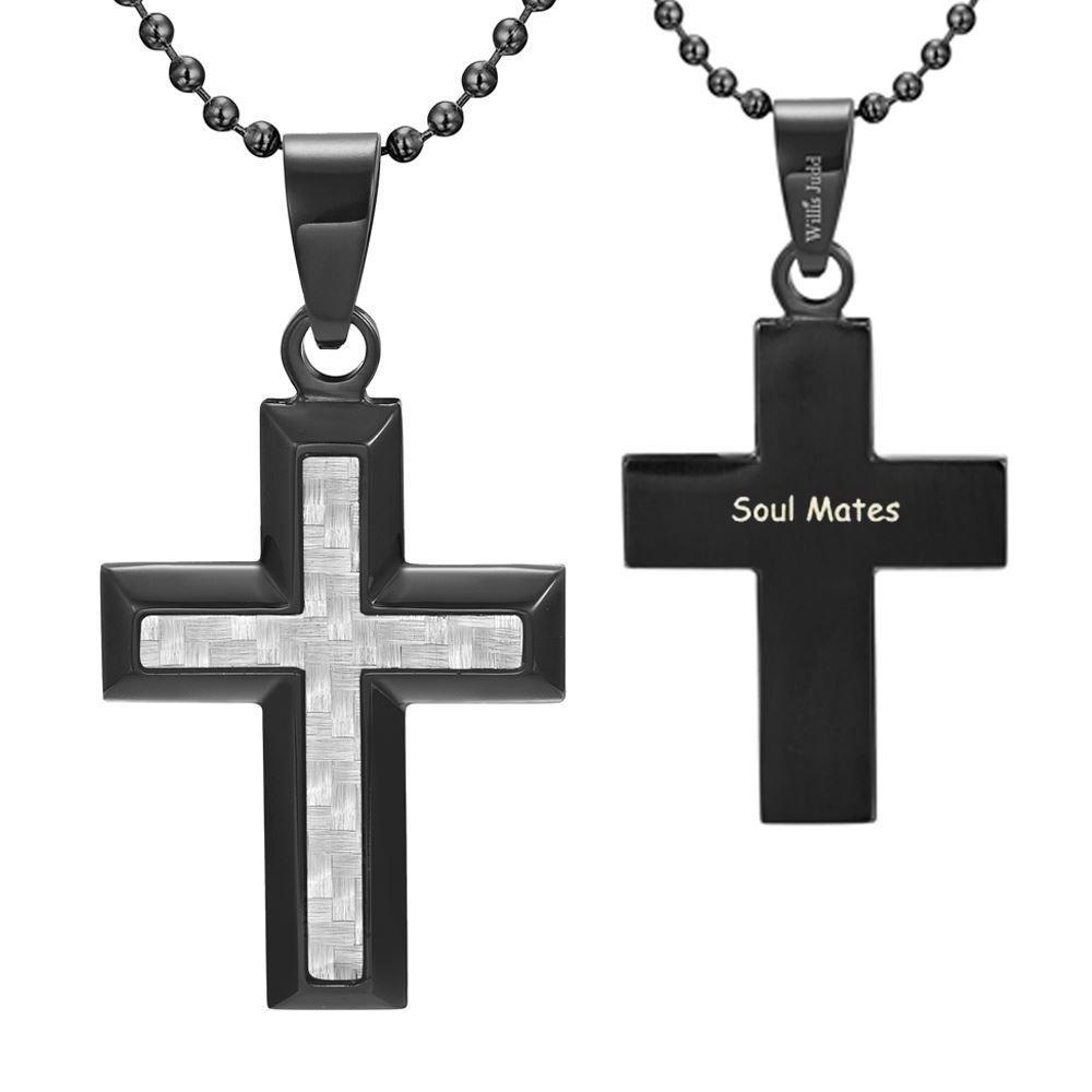 Willis Judd Men's Black Stainless Steel Cross Pendant Engraved Soul Mates with Carbon fibre and Necklace with Gift Pouch