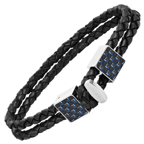 Willis Judd Men's Black Magnetic Leather and Stainless Steel Bracelet with Blue Carbon Fiber Gift Boxed.
