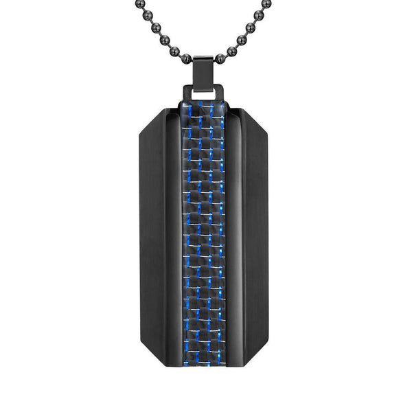 Willis Judd Mens Black Stainless Steel With Blue Carbon Fiber Pendant with Necklace and Gift Pouch