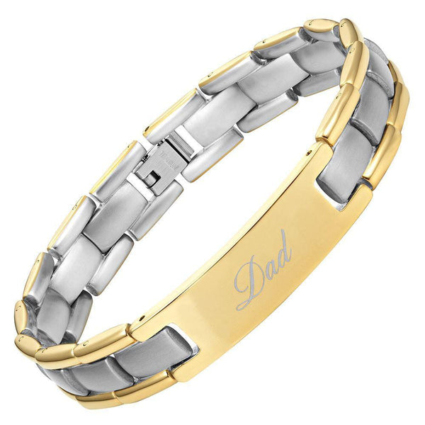 Willis Judd Mens Two Tone Titanium DAD Bracelet Engraved Best Dad Ever with Gift Box & Link Removal Tool
