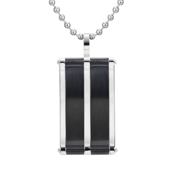 Willis Judd Mens Stainless Steel Black Two Tone Pendant with Necklace and Gift Pouch