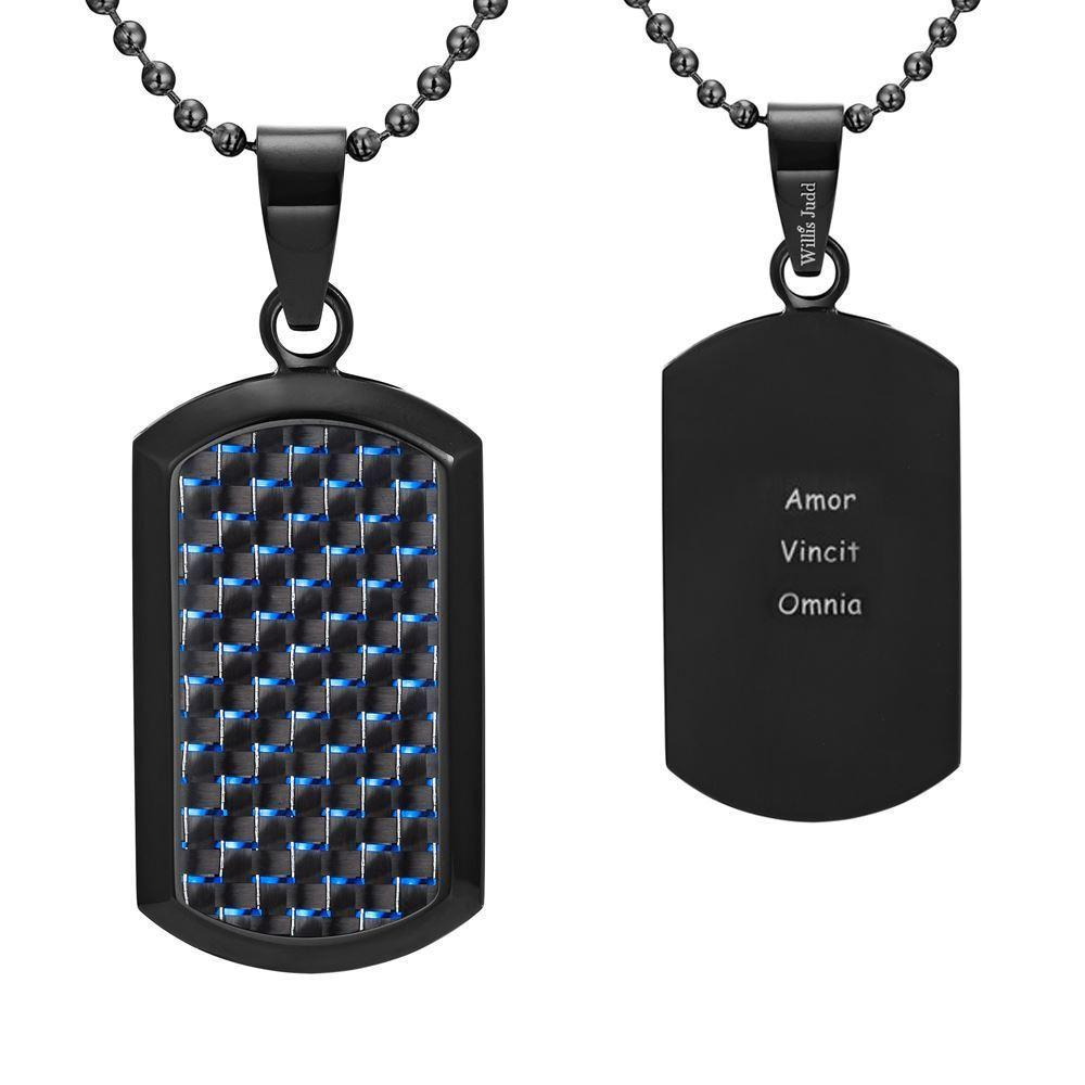 Willis Judd Men's Black Stainless Steel Dog Tag Pendant Engraved Latin Love Amor Vincit Omnia with Blue Carbon fibre and Necklace with Gift Pouch