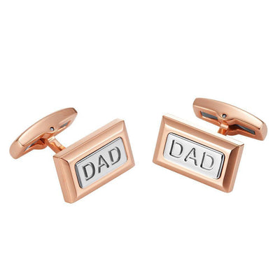 Willis Judd Men's DAD Two Tone Rose Stainless Steel Cufflinks with Gift Pouch