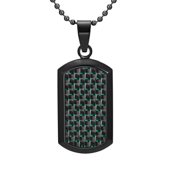 Willis Judd Men's Black Stainless Steel Dog Tag Pendant Engraved I Love You with Green Carbon fibre and Necklace with Gift Pouch