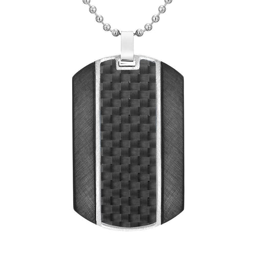 "Willis Judd Mens Black Carbon fibre Stainless Steel Pendant In Black with 22"" Necklace and Gift Pouch"