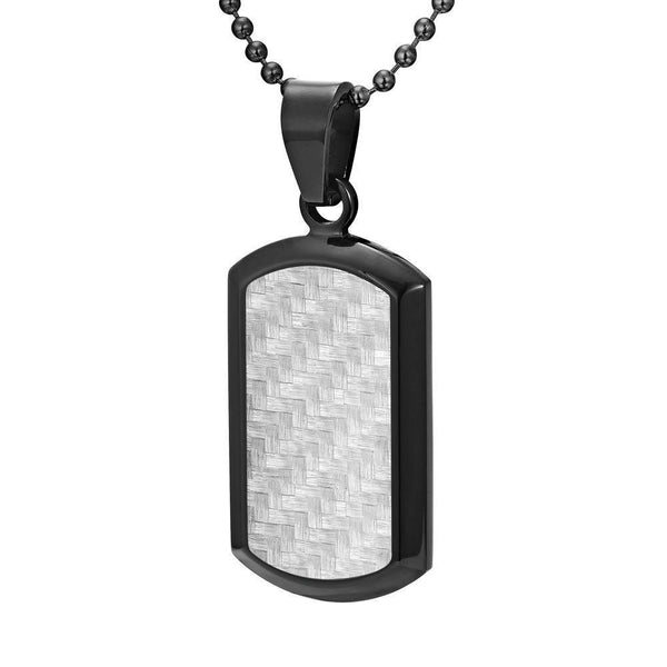Willis Judd Men's Black Stainless Steel Dog Tag Pendant Engraved I Love You with Carbon Fiber and Necklace with Gift Pouch