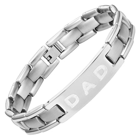 Mens Titanium DAD Bracelet Engraved Best Dad Ever