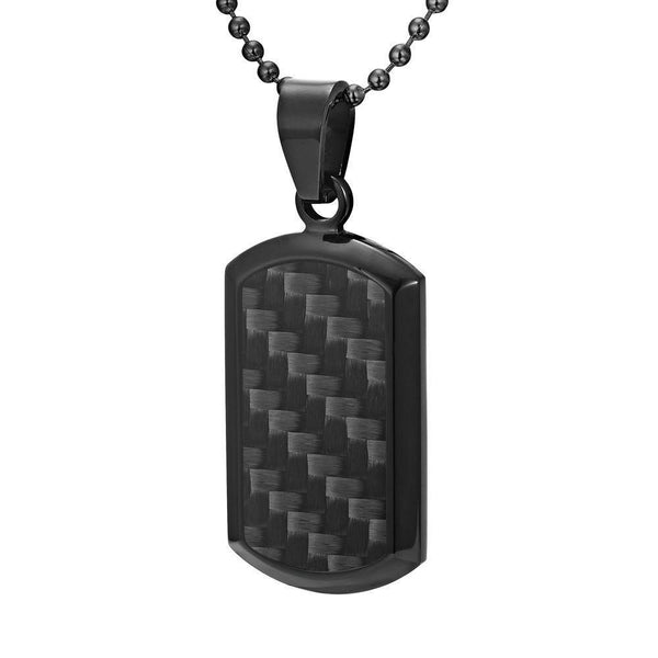 Willis Judd Men's Black Stainless Steel Dog Tag Pendant with Black Carbon fibre and Necklace & Pouch