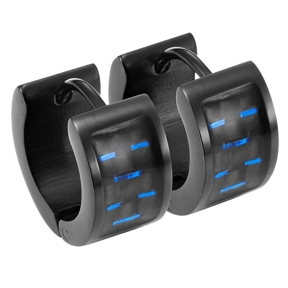 Willis Judd Men's Black Stainless Steel Huggie Earrings with Blue Carbon fibre in Gift Pouch
