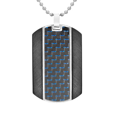 "Willis Judd Mens Blue Carbon fibre Stainless Steel Pendant In Black with 22"" Necklace and Gift Pouch"