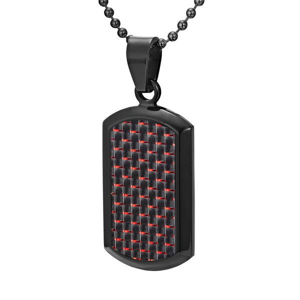Willis Judd Men's Black Stainless Steel Dog Tag Pendant Engraved US Marine Latin Semper Fidelis with Red Carbon Fiber and Necklace with Gift Pouch