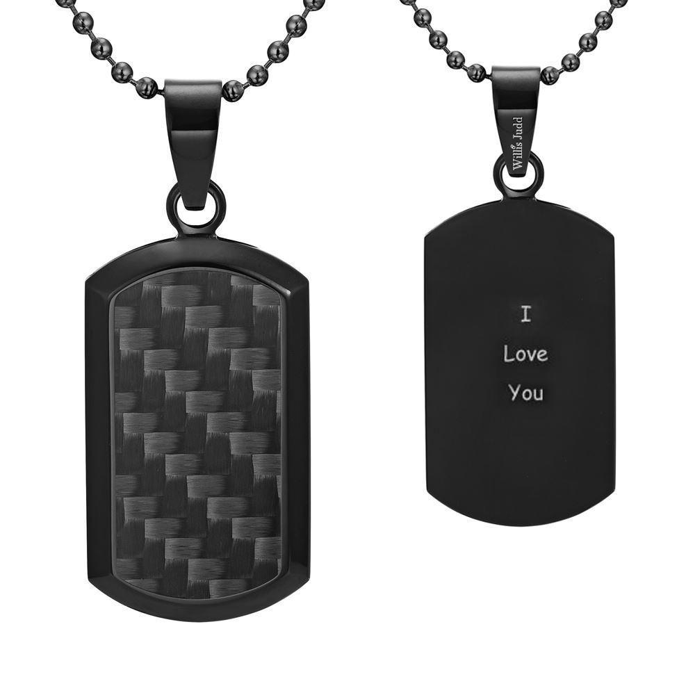 Willis Judd Men's Black Stainless Steel Dog Tag Pendant Engraved I Love You with Black Carbon fibre and Necklace with Gift Pouch