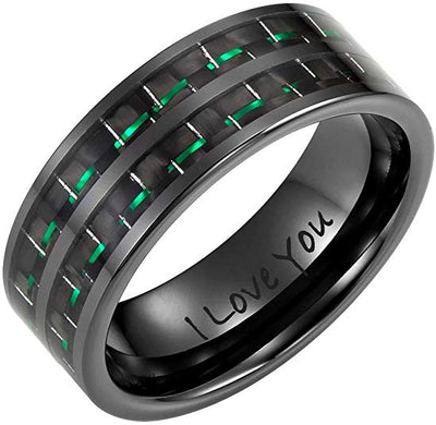 Willis Judd New Men's Ceramic Ring (Black, Green Carbon Fiber, Engraved I Love You)