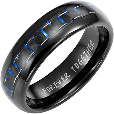 Willis Judd New Mens Tungsten Band Ring engraved Forever Together With Blue Carbon Fibre In Gift Box