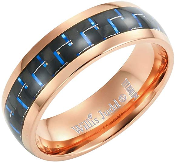 Willis Judd Men's 7mm Two Tone Rose Titanium Ring with Blue Carbon Fibre Gift Boxed