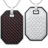 Willis Judd Mens Reversible Black Stainless Steel Red Carbon fibre and Checker Plate Effect Pendant with Necklace and Gift Pouch