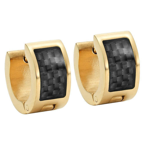 Willis Judd Men's Two Tone Stainless Steel Huggie Earrings with Black Carbon Fiber in Gift Pouch