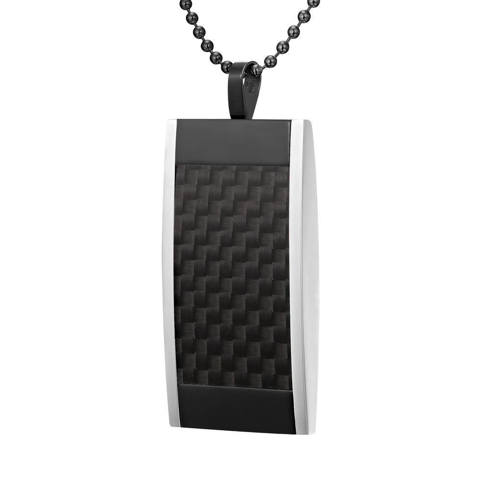 Willis Judd Mens Reversible Black Stainless Steel With Black Carbon fibre and Honeycomb Pendant with Necklace and Gift Pouch