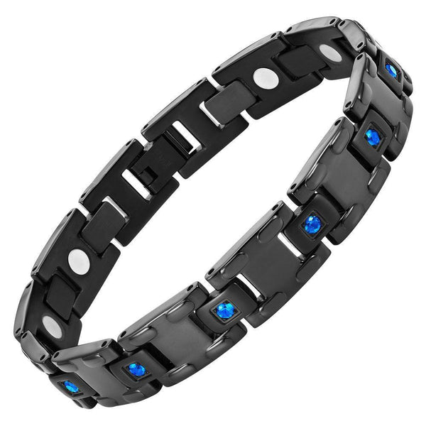 Willis Judd Men's Black Titanium with Blue CZ Magnetic Bracelet Gift Boxed with Link Removal Tool