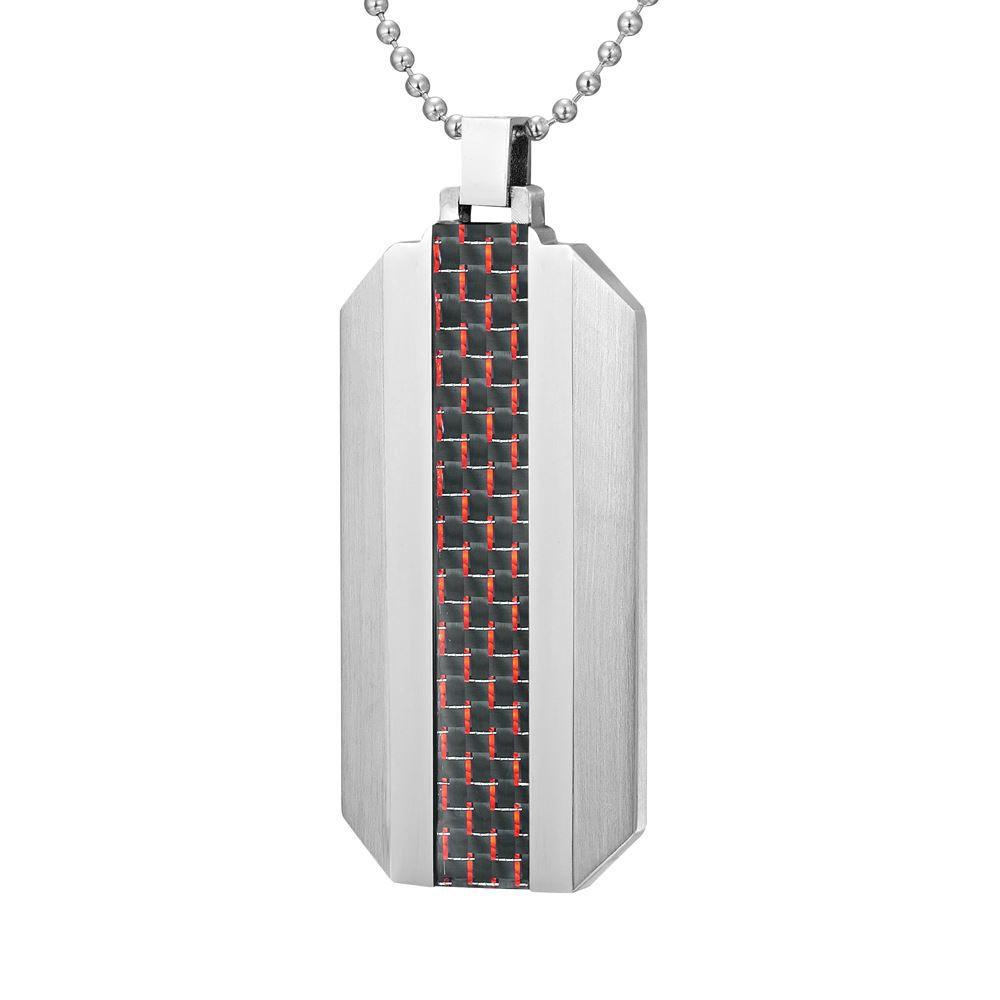 Willis Judd Mens Stainless Steel Red Carbon fibre Pendant with Necklace and Gift Pouch