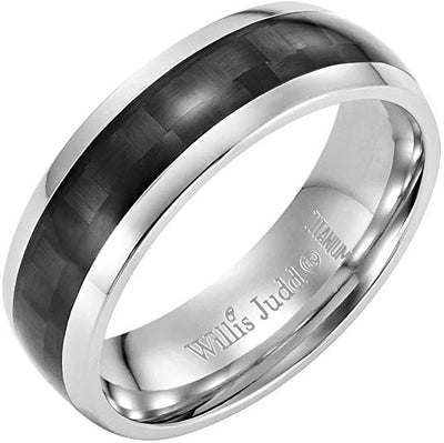 Willis Judd Mens 7mm High Polished Titanium Ring with Black Carbon Fibre Engraved I Love You Gift Boxed