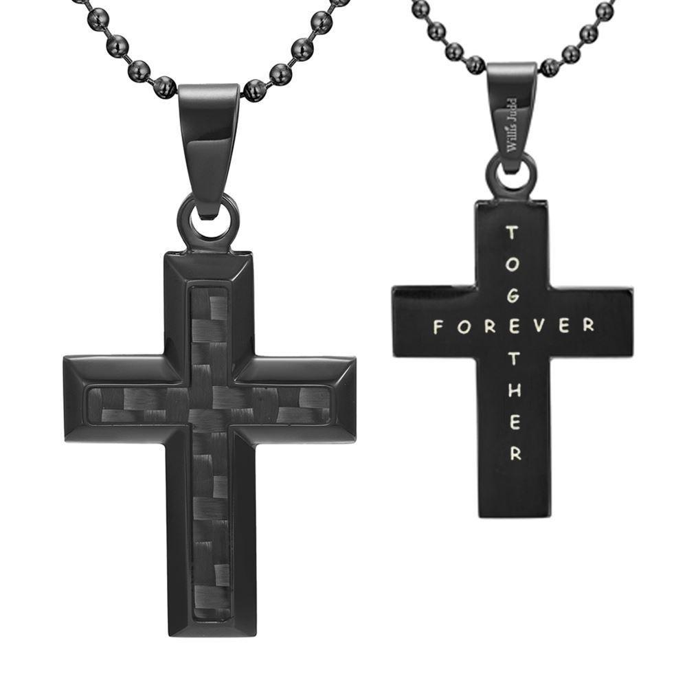 Willis Judd Men's Black Stainless Steel Cross Pendant Engraved Together Forever with Black Carbon fibre and Necklace with Gift Pouch
