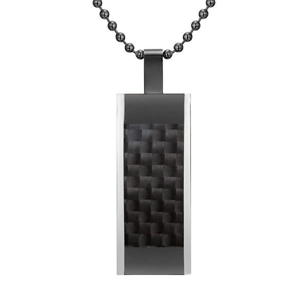 Willis Judd Mens Stainless Steel Tri Color Black Carbon fibre Pendant with Necklace and Gift Pouch