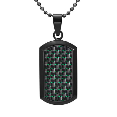 Willis Judd Men's Black Stainless Steel Dog Tag Pendant Engraved Love You Dad with Green Carbon Fiber and Necklace with Gift Pouch