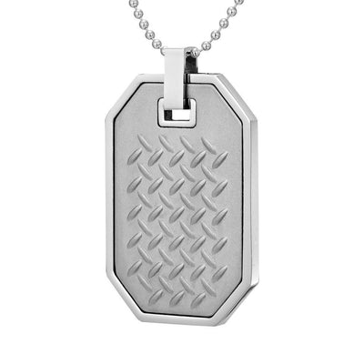 Willis Judd Mens Reversible Stainless Steel Green Carbon fibre and Checker Plate Effect Pendant with Necklace and Gift Pouch