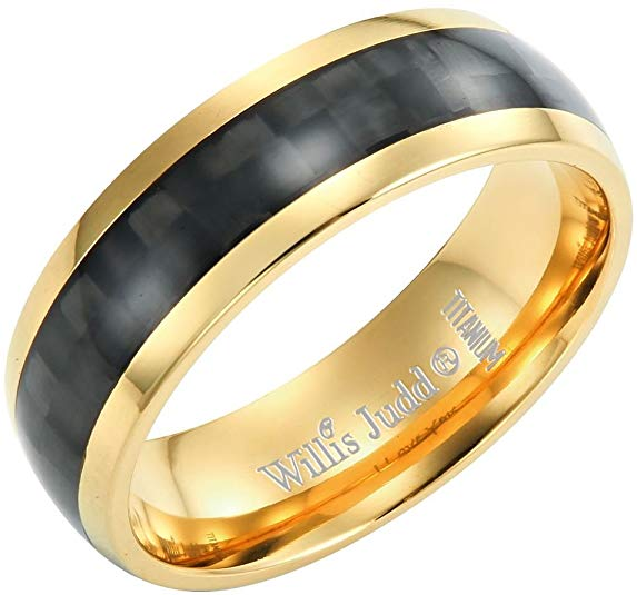 Willis Judd Men's 7mm Titanium Ring with Black Carbon Fiber Engraved I Love You
