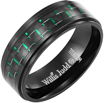 Willis Judd Black Titanium Ring with Green CZ and Carbon Fiber Ring Engraved I Love You with Gift Box