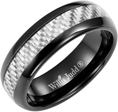 Willis Judd Men's 7mm Tungsten Graphite Carbon Fibre Ring Engraved I Love You