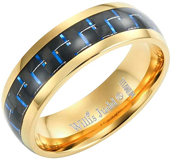 Willis Judd Men's 7mm Two Tone Titanium Ring with Blue Carbon Fibre Engraved I Love You Gift Boxed