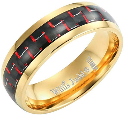 Willis Judd Men's 7mm Two Tone Titanium Ring with Red Carbon Fiber Engraved I Love You Gift Boxed