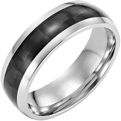 Willis Judd Men's 7mm Titanium Ring with Black Carbon Fibre Gift Boxed