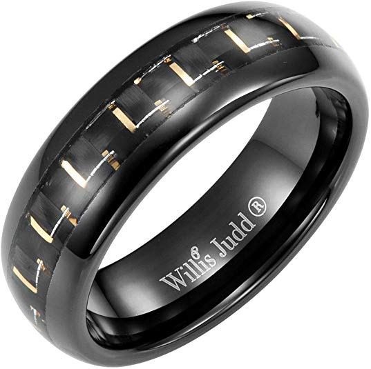 Willis Judd Men's 7mm Tungsten Two Tone Carbon Fibre Ring Engraved I Love You