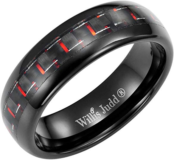 Willis Judd Men's 7mm Tungsten Red Carbon Fibre Ring Engraved I Love You