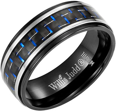 Wilils Judd Mens 8mm Titanium Blue Carbon Fiber Ring Engraved Forever Together in Gift Packaging Black
