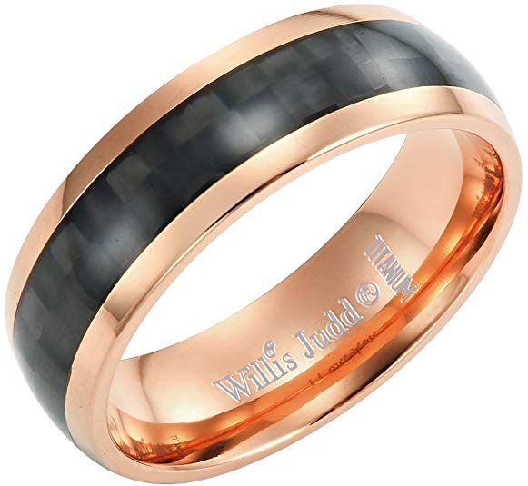 Willis Judd Mens 7mm Two Tone Rose Titanium Ring with Black Carbon Fibre Engraved I Love You Gift Boxed