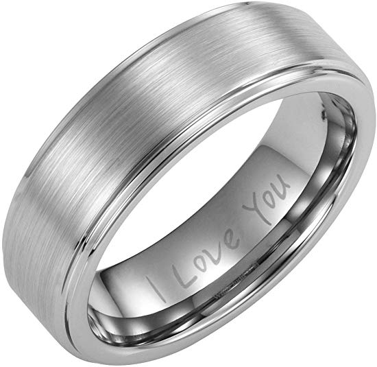 Willis Judd 7mm Titanium Ring with I Love You Engraved in Velvet Gift Box