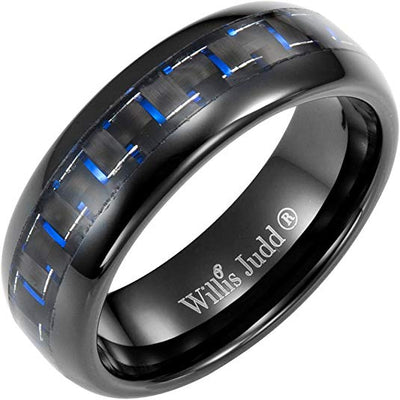 Willis Judd Men's 7mm Tungsten Blue Carbon Fibre Ring Engraved I Love You