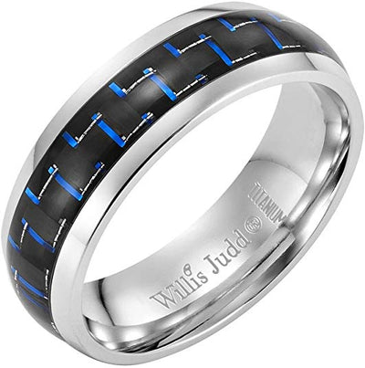 Willis Judd Men's 7mm High Polished Titanium Ring with Blue Carbon Fibre Engraved I Love You Gift Boxed