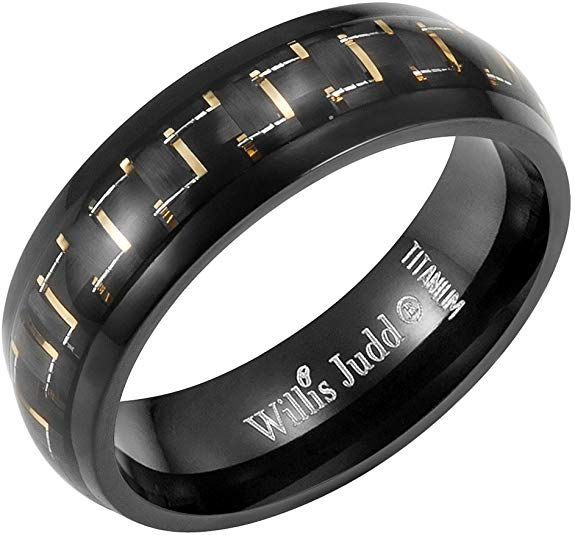 Willis Judd 7mm Titanium Yellow Carbon Fiber Ring Engraved I Love You in Velvet Gift Packaging Black- Size 14