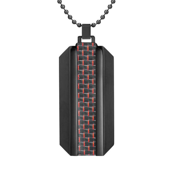 Willis Judd Mens Black Stainless Steel With Red Carbon fibre Pendant with Necklace and Gift Pouch