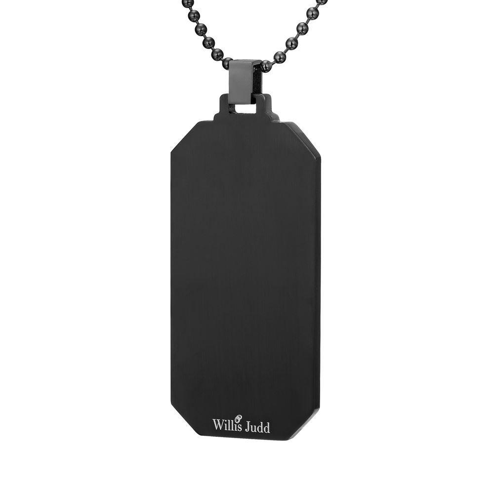 Willis Judd Mens Black Stainless Steel with Green Carbon fibre Pendant with Necklace and Gift Pouch